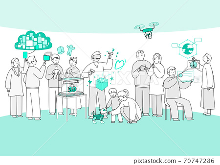 Group of different people in community illustration 005 70747286