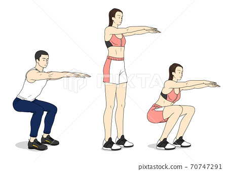 Fitness sports, exercising at home illustration 010 70747291