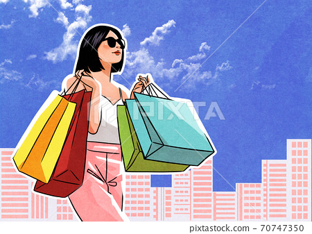 Shopping concept comic cartoon pop art retro style illustration 007 70747350