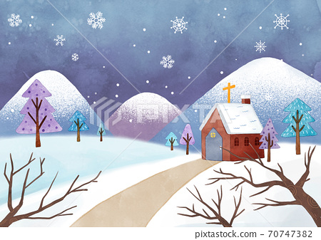 A scenery with a church illustration 007 70747382