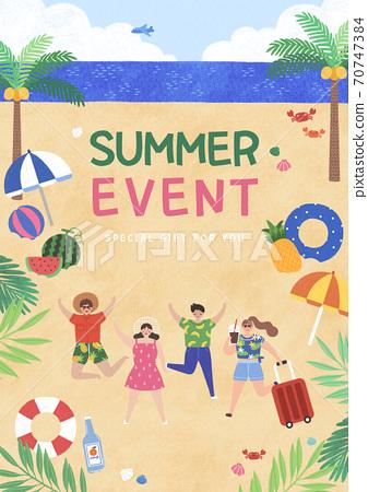 Summer festival and event poster design illustration 010 70747384
