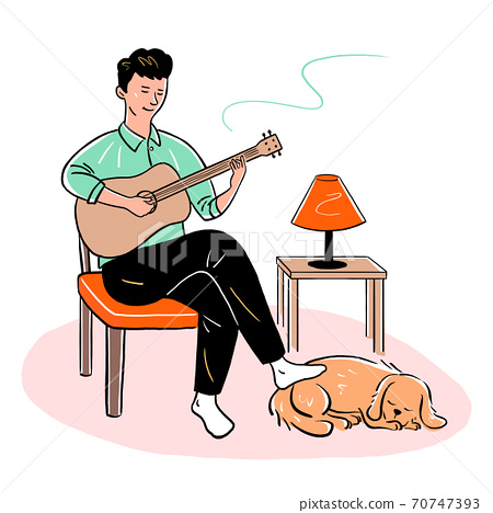 Everyday life at home, People relaxing and activities at home illustration 004 70747393