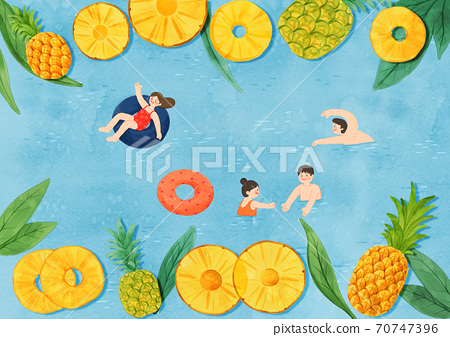 Colorful summer object hand-drawn illustration 007 70747396