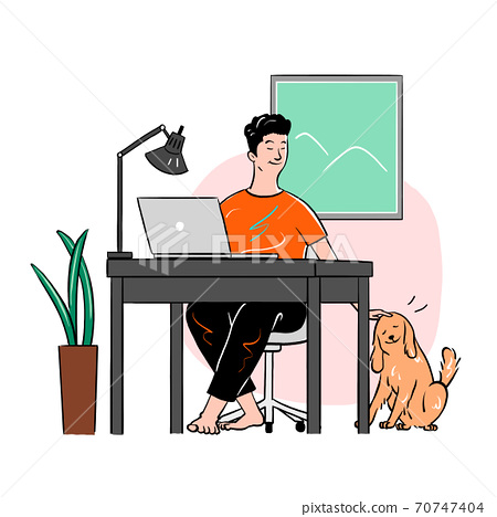 Everyday life at home, People relaxing and activities at home illustration 002 70747404