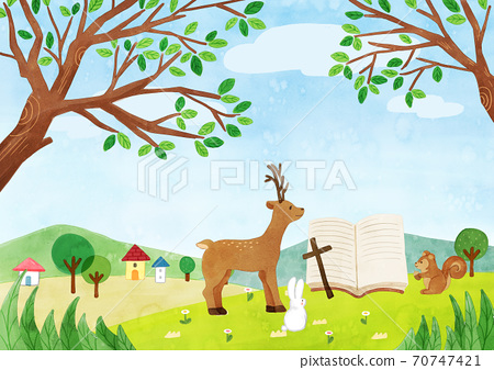 A scenery with a church illustration 008 70747421