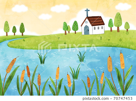 A scenery with a church illustration 005 70747453
