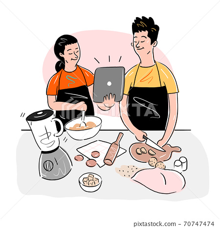 Everyday life at home, People relaxing and activities at home illustration 003 70747474