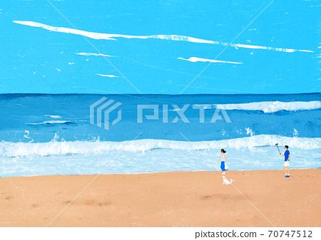 Beautiful summer landscape background illustration004 70747512