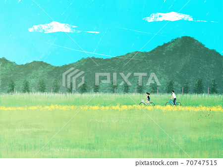 Beautiful summer landscape background illustration003 70747515