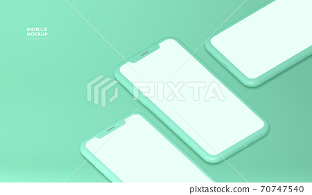 Realistic smartphone mock up with blank screen 014 70747540