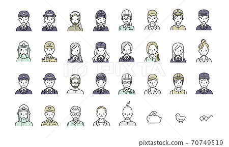 Simple illustrations of police officers, self-defense officials, firefighters, security guards, factories, workers, men and women working in the field 70749519