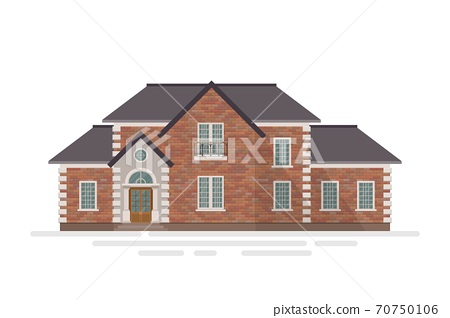 Brick house building vector illustration isolated on white background 70750106
