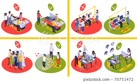 Social Distancing 2x2 Isometric Design Concept 70751472