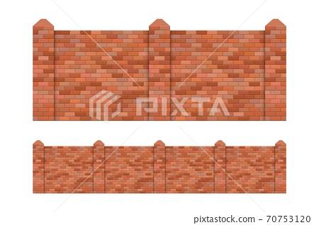 Brick fence vector illustration isolated on white background 70753120