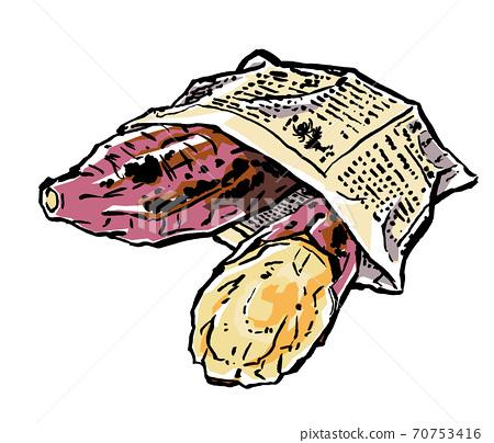 用報紙製成的袋子中的石烤土豆,用刷子繪製並塗上磨砂 70753416