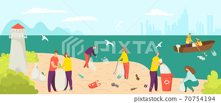 Garbage waste at beach, clean environment at shore vector illustration. Cartoon people pick up trash pollution at ocean shore. 70754194