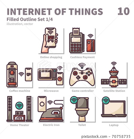 Internet of things icons set, Filled Outline, vector and illustration set 1 70758735