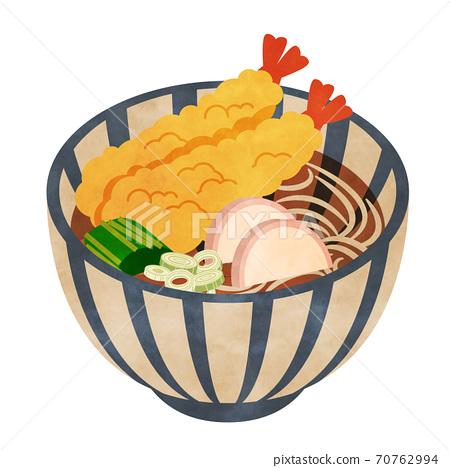 天婦羅蕎麥麵水彩風格 70762994