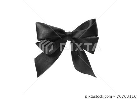 Black bow isolated on white background, close up 70763116