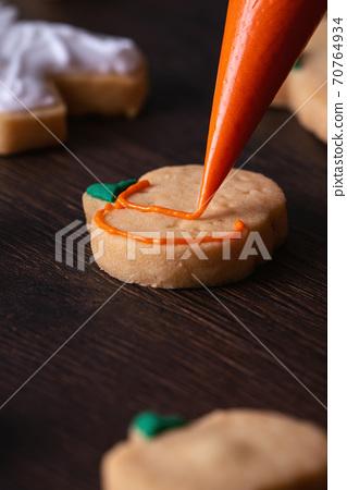 萬聖節 裝飾 餅乾 南瓜 繪畫 Decorating cookie ハロウィン クッキー かぼちゃ 70764934