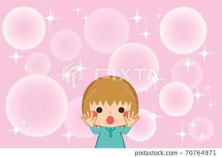 快樂的小女孩和閃光浪漫的女孩卡通風格背景 70764971