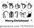 Christmas set black and white vector illustration 70765055