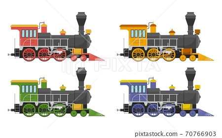 Vintage steam locomotive vector illustration isolated on white background 70766903