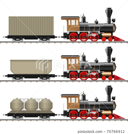 Vintage steam locomotive and wagon vector illustration isolated 70766912
