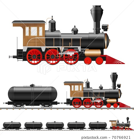Vintage steam locomotive and wagon vector illustration isolated 70766921