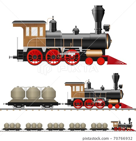 Vintage steam locomotive and wagon vector illustration isolated 70766932