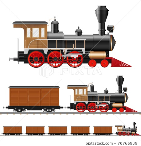 Vintage steam locomotive and wagon vector illustration isolated 70766939