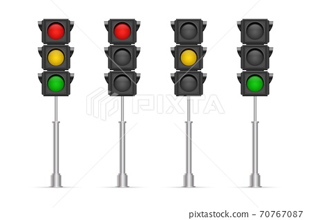 Traffic lights vector illustration isolated on white background 70767087