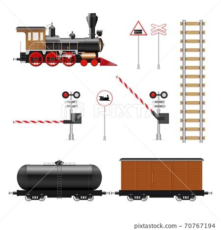 Railway elements vector illustration isolated on white background 70767194