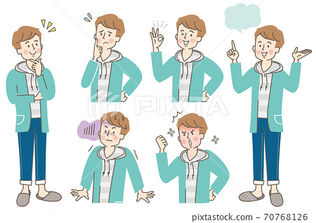 젊은 남성의 다양한 표정 세트 70768126