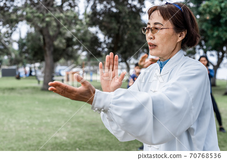 Mature chinese woman do tai chi outdoor 70768536