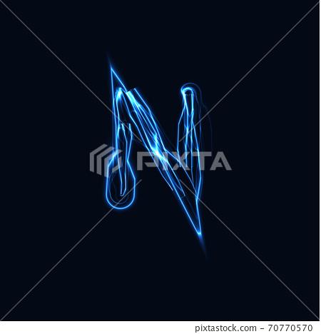 Lightning Realistic letter N, bright gloving logo, electric energy glow style symbol, blue tesla plasma type sign. Thunderbolt vector illustration, typography design 70770570