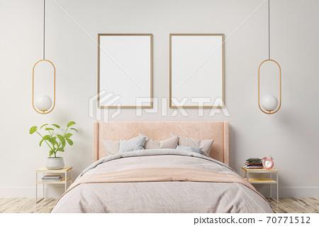 Bedroom interior mockup photo frame 70771512