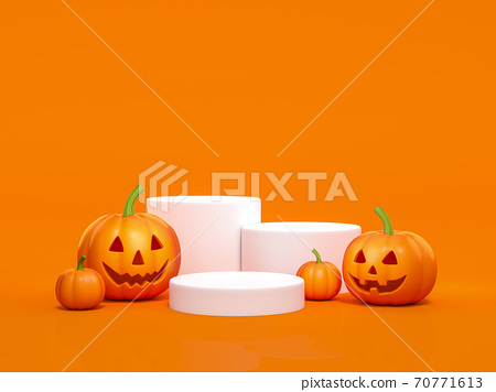 Halloween pumpkin with white podium display stand on orange background 3d rendering. 3d illustration pumpkin for celebration luxury Halloween event template minimal style concept. 70771613