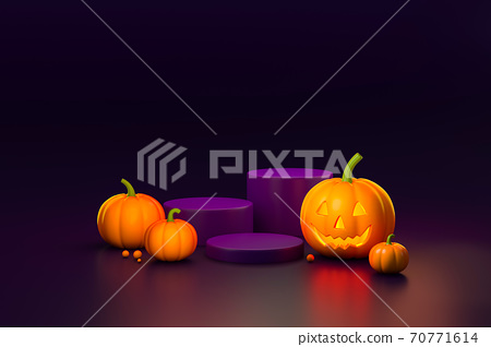 Halloween pumpkin with podium display stand on dark background 3d rendering. 3d illustration pumpkin for celebration luxury Halloween event template minimal style concept. 70771614