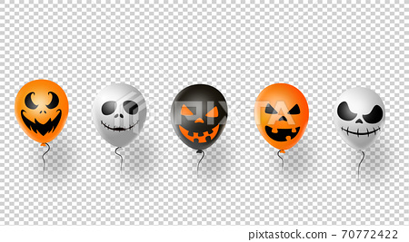 Halloween party  banner, orange  white , black , air balloons isolated  on png or transparent  background, vector illustration  70772422