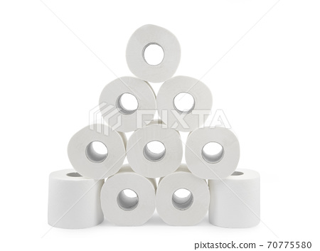 Roll of toilet paper, tissue for use in the toilet room, used for cleaning the dirt in the bathroom isolated on the white background. 70775580
