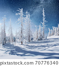Dairy Star Trek in the winter woods. Dramatic and picturesque scene. In anticipation of the holiday. 70776340