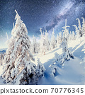Dairy Star Trek in the winter woods. Dramatic and picturesque scene. In anticipation of the holiday. 70776345
