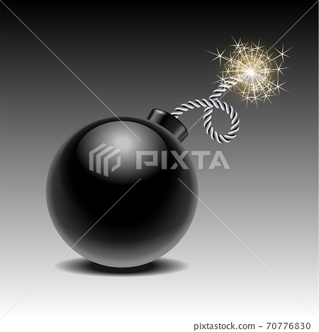 Round black bomb ready to explode with lit fuse 70776830