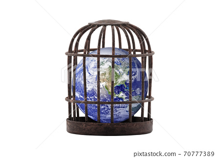 Planet Earth trapped in old rusty cage isolated on white. Lockdown concept. Earth photo provided by Nasa. 70777389