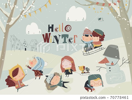 Happy cute kids playing winter games. Hello winter 70778461
