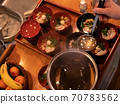 The table being set for a traditional new year's dinner in Japan 70783562
