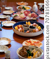 The table being set for a traditional new year's dinner in Japan 70783566