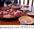 The table being set for a traditional new year's dinner in Japan 70783571