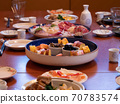 The table being set for a traditional new year's dinner in Japan 70783574